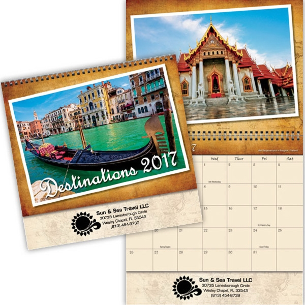 Kingswood Collection Destinations Spiral Bound Wall Calendar - Spiral bound 13 month calendar with photos of vacation destinations.