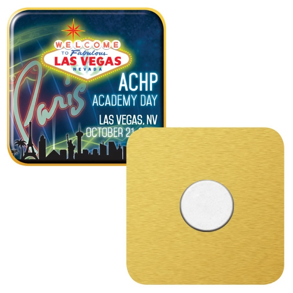 "1"" Square Express Vibraprint Magnetic Lapel Pin"