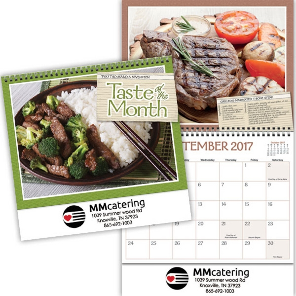 Kingswood Collection Taste of the Month Wall Calendar - 13 month spiral bound wall calendar with mouth watering recipes.