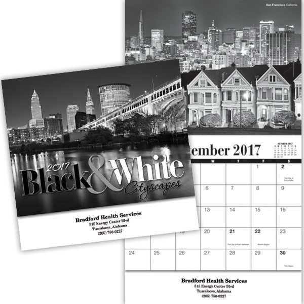 Kingswood Collection Black and White Wall Calendar