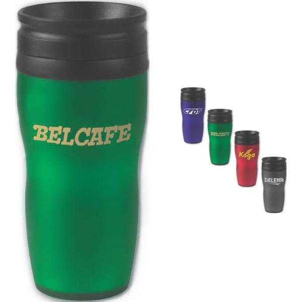 Brand Gear (TM) Soft Grip Contour Tumbler (TM) - Double wall insulated tumbler, 16 oz., with spill resistant, screw on lid.