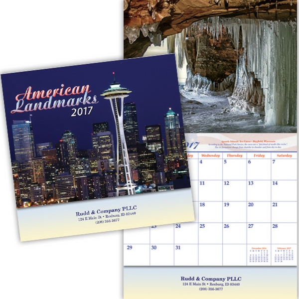 Kingswood Collection Historic Landmarks Wall Calendar