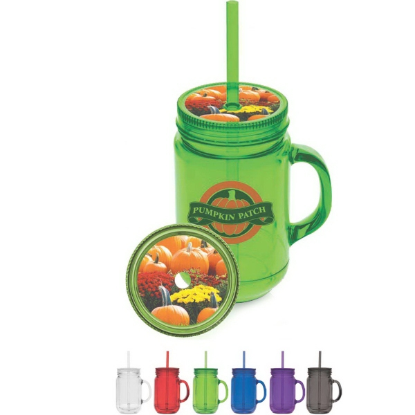 Fixin' for Fun Collection - 16 oz. double walled and BPA free plastic jar with lid and straw.