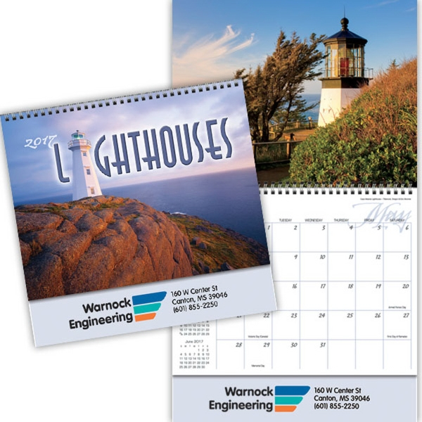 Kingswood Collection Lighthouses Wall Calendar - 13 month spiral bound wall calendar.