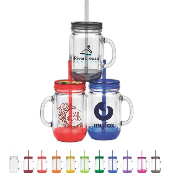 Two Tone Fixin' for Fun Collection - 20 oz. double walled and BPA free plastic jar with lid and straw.