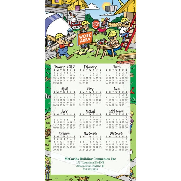 Z-Fold Contractor Calendar - Tri-fold year on a page calendar with full color picture at top.