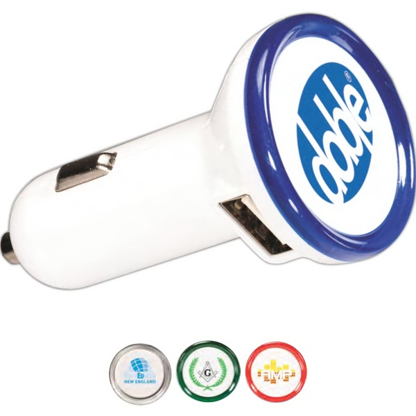 Round USB Car Charger - Round USB car charger.