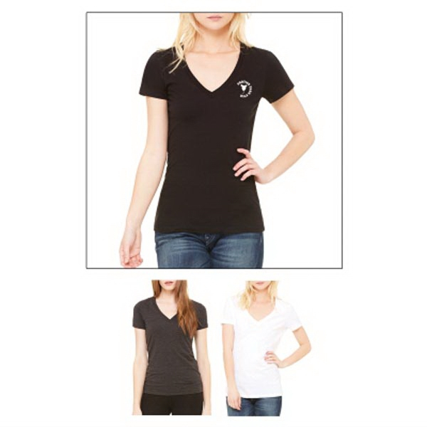 Bella + Canvas Ladies' Jersey Short-Sleeve Deep V-Neck Tee