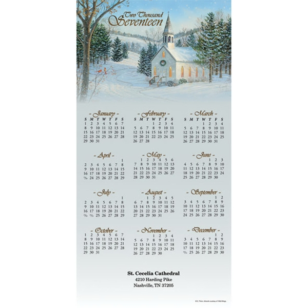 Z-Fold Christian Calendar - Tri-fold year on a page calendar with full color religious picture at top.