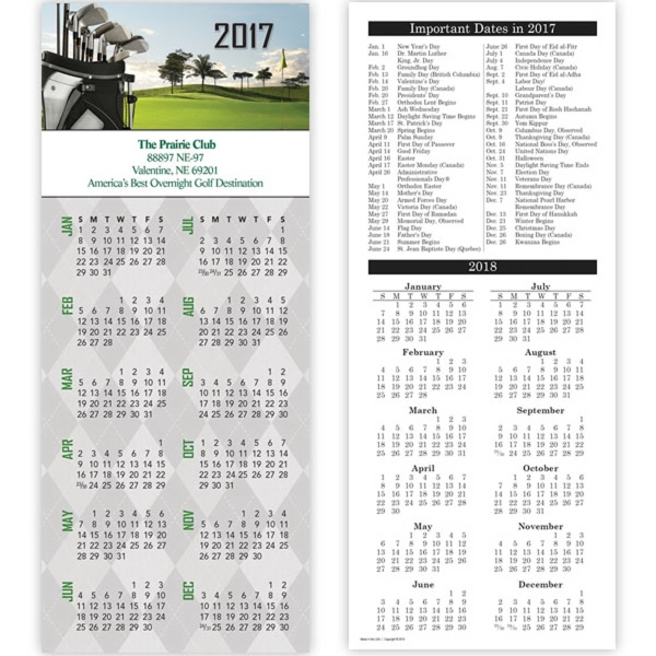 Economy Collection Golf 2-Sided Vertical Calendar - 2 sided vertical calendar with full color golf design.