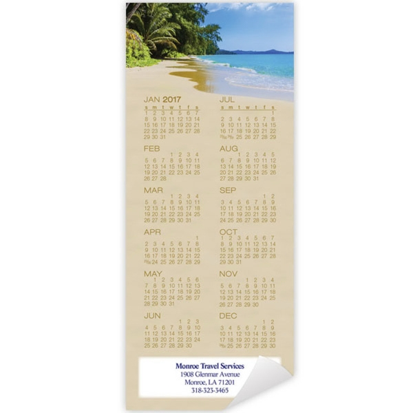 Economy Collection Beach Magnetic Calendar - Magnetic calendar with full 12 month calendar view.