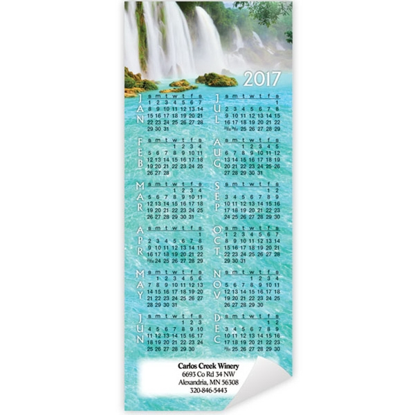 Economy Collection Magnetic Waterfall Calendar - Calendar with full magnetic backing, 12 month view.