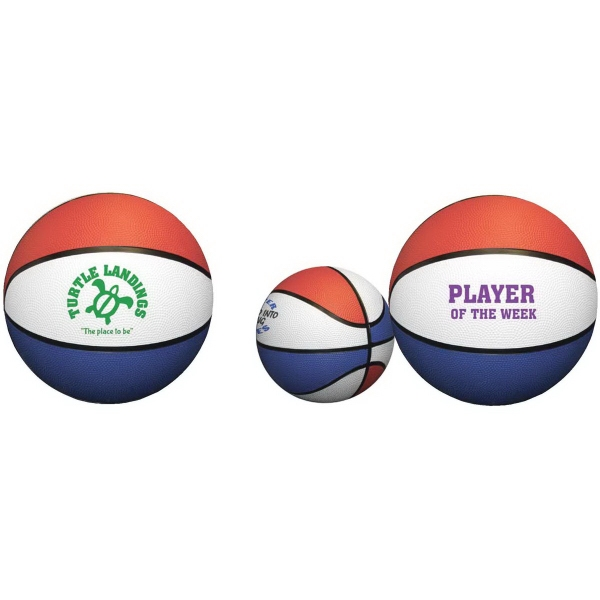 Mini Rubber Basketball - Red, White Blue