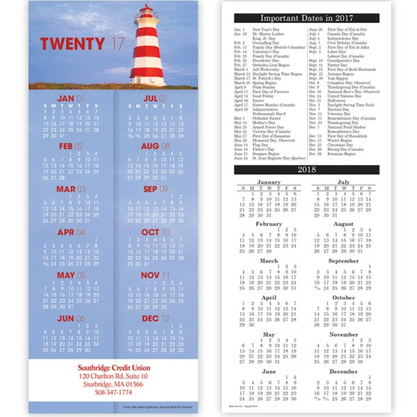 Economy Collection Lighthouse Vertical Calendar Card - 2 sided vertical card calendar with calendar view.
