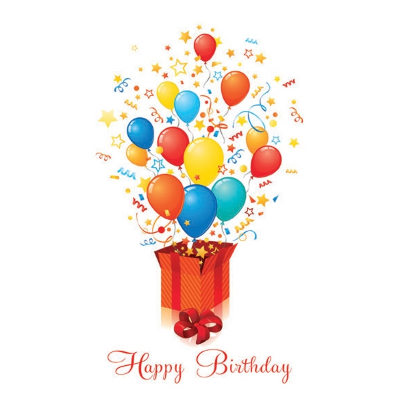 """Exploding Balloons Greeting Card - Birthday greeting card with """"Happy Birthday"""" and balloons on the front."""