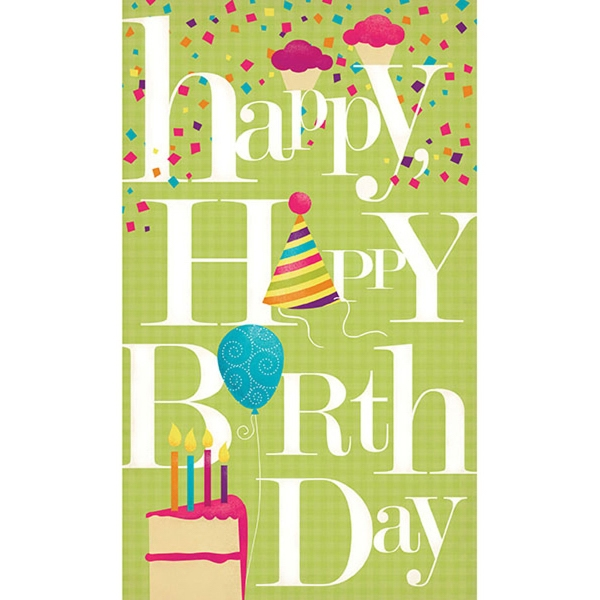 "Happy Happy Birthday Greeting Card - Greeting card with ""Happy Happy Birthday"" on the front."