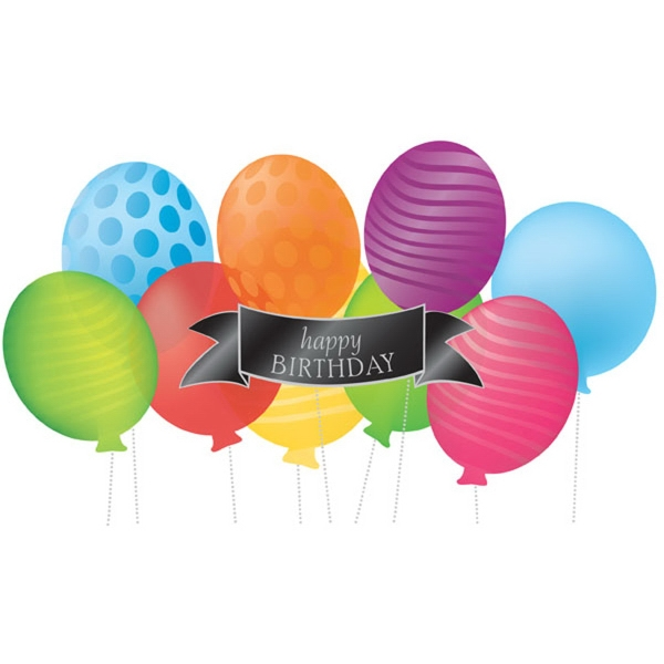"""Balloon Party Birthday Greeting Card - Greeting card with """"Happy Birthday"""" and balloons on the front."""