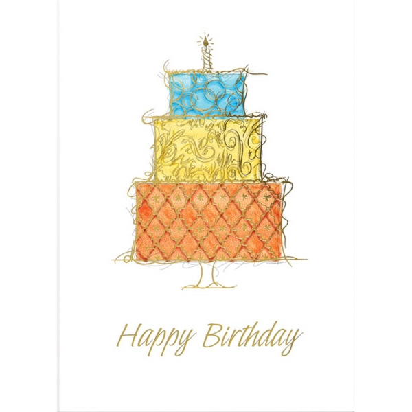 Three Tiered Birthday Cake Greeting Card