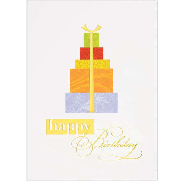 "Birthday Gift Stack Greeting Card - Greeting card with ""Happy Birthday"" and stack of presents on the front."
