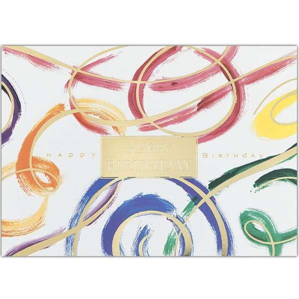 "Paint Brush Birthday Greeting Card - Greeting card with ""Happy Birthday"" and brush strokes design on the front."