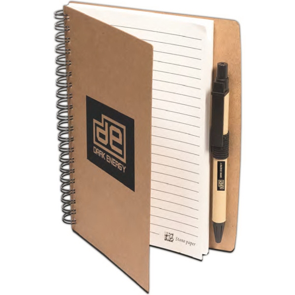 Stone Paper Spiral Notebook with Pen