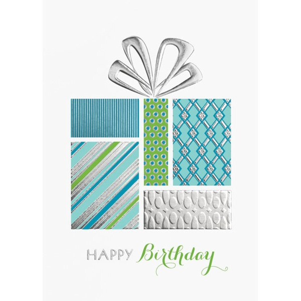 Silver Embossed Boxed Gifts Greeting Card