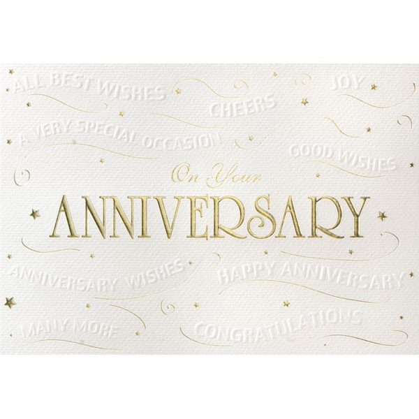 Embossed Anniversary Wishes Greeting Card - Embossed Anniversary Wishes Greeting Card