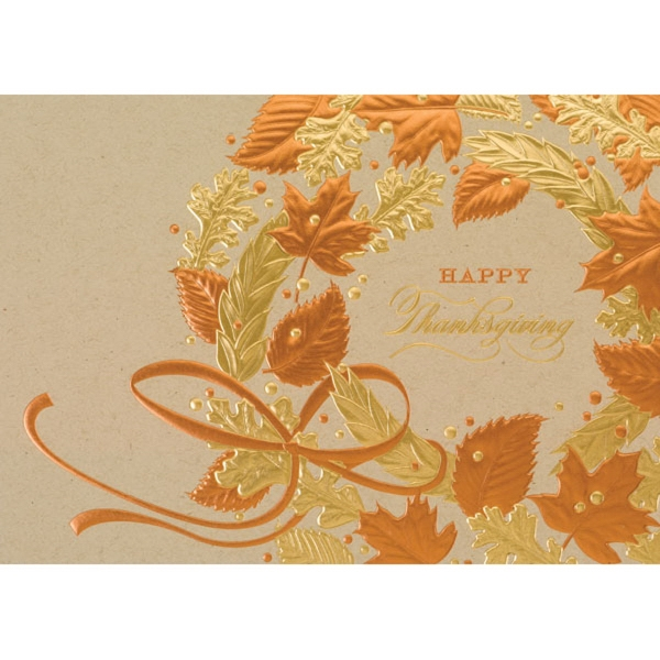 Copper and Gold Thanksgiving Greeting Card