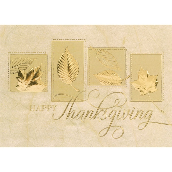 Gold Embossed Leaf Prints Greeting Card