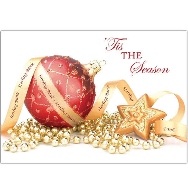 "Red & Gold Decorations Greeting Card - Greeting card with ""Tis The Season"" on front with red & gold decorations."