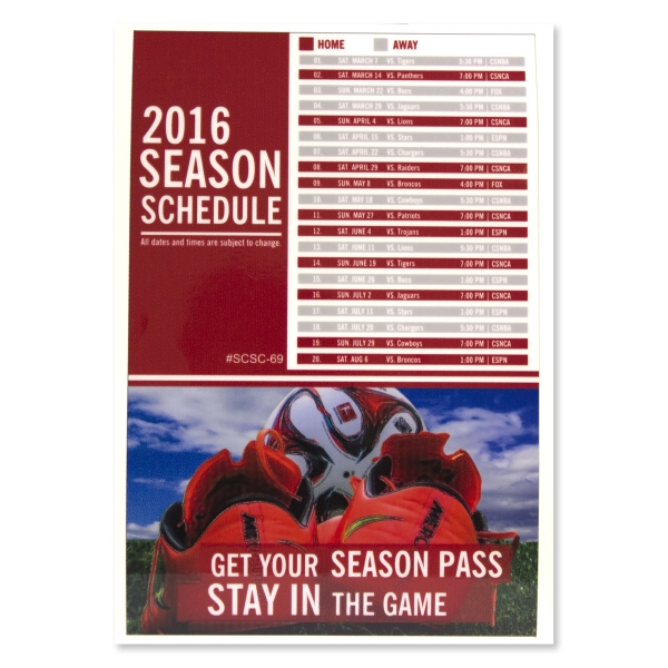 "Sports Calendar 6x9"" Static Cling Vinyl Decal"