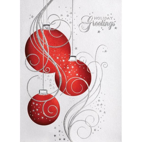 Three Red Ornaments Greeting Card - Three Red Ornaments Greeting Card