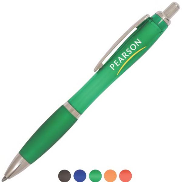 Translucent Starlight Pen - Translucent pen with plastic body and ergonomic silicone grip.