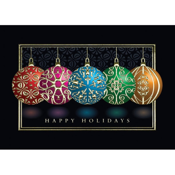 Holiday Embossed Ornaments Greeting Card