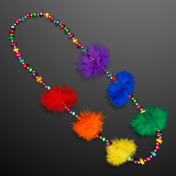 Rainbow Feathers Mardi Gras Fun Beads (Non-Light-Up)
