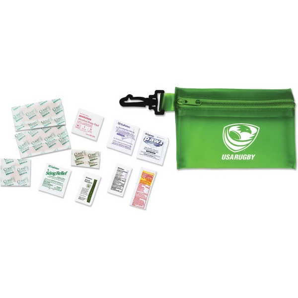 Med1 Basic Hiker's First Aid Kit - Basic hiker's first aid kit in convenient carry pouch with clip attachment.