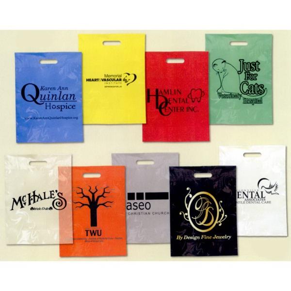 Low Minimum Plastic Take Home Bags - Colored Plastic - Printed low minimum, low density polyethylene colored plastic take home bag.