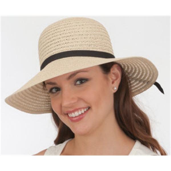Sewn Braid Toyo/Poly Sun Hat W/Black Ribbon Band & Bow