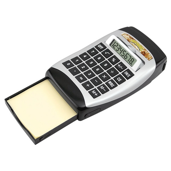 Desktop Calculator with Tape Dispenser and Note Pad