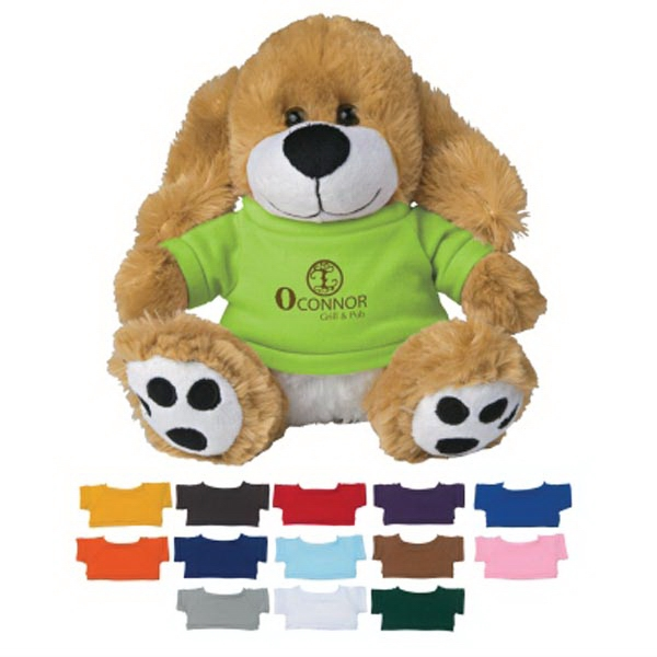 "8 1/2"" Plush Big Paw Dog With Shirt"