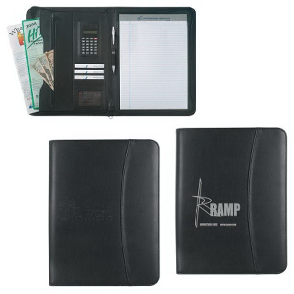 "Leather Look 8 1/2"" x 11"" Zippered  Portfolio"