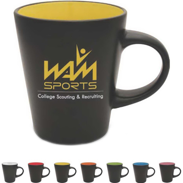 "Noir Collection Ceramic Mug - Noir collection 12 oz ceramic mug.Satin black exterior contrasts with colorful glossy interior. Item height: 4.188""."