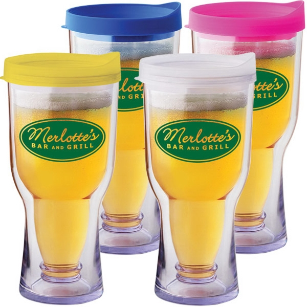 Brew 17 oz. Tumbler - Double-walled plastic drink tumbler with lid.