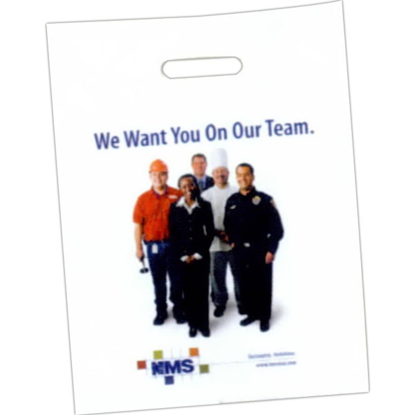 """Custom Printed Patch Handle Bags - Custom printed 2.0 mil single wall bag with patch handle and 4"""" bottom gusset."""