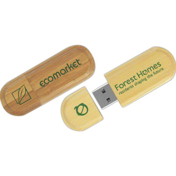 512MB USB 2.0 Eco Oblong Wood Drive (TM)