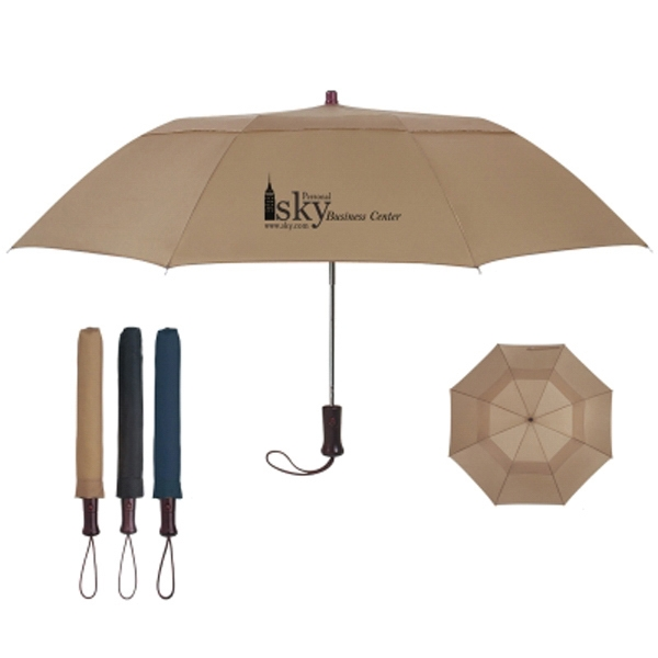 "44"" Arc Telescope Folding Wood Handle Umbrella"