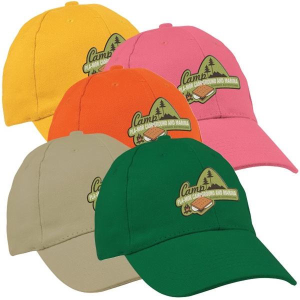 100% Cotton 6 Panel Cap - 100% Cotton 6 Panel Structured Cap.  Medium Profile With Pre-Curved Visor.