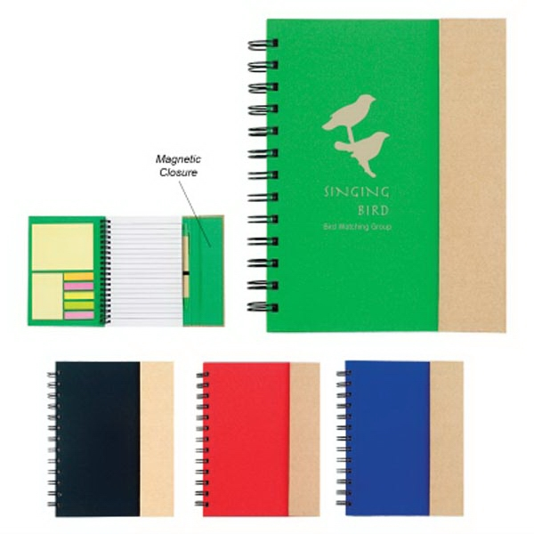 Spiral Notebook with Sticky Notes and Flags