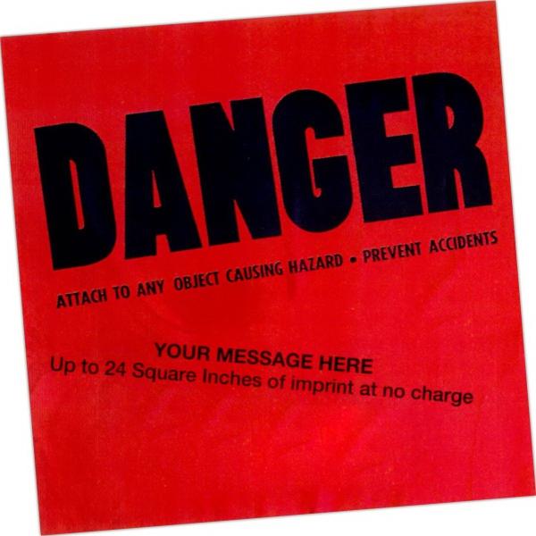 Plastic Danger Flags - Stock design plastic danger flag.