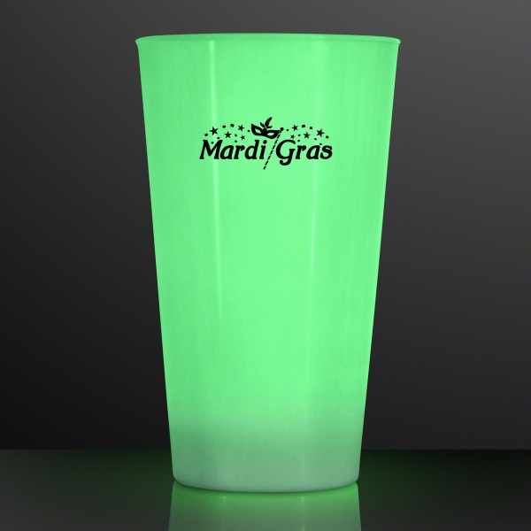 16 Oz. LED Green Glow Cup
